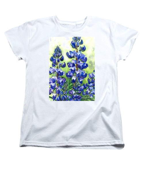 Women's T-Shirt (Standard Cut) featuring the painting Mountain Blues Lupine Study by Barbara Jewell