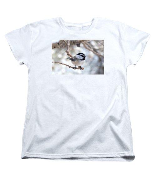 Mountain Chickadee On Branch Women's T-Shirt (Standard Cut) by Marilyn Burton