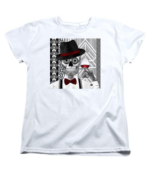 Mr. J.d. Vanderbone - Day Of The Dead 1920's Sugar Skull - Copyrighted Women's T-Shirt (Standard Cut) by Christopher Beikmann