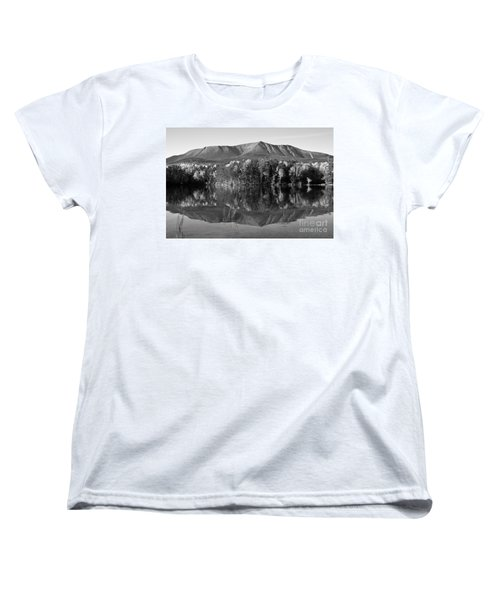 Mt Katahdin Black And White Women's T-Shirt (Standard Cut) by Glenn Gordon