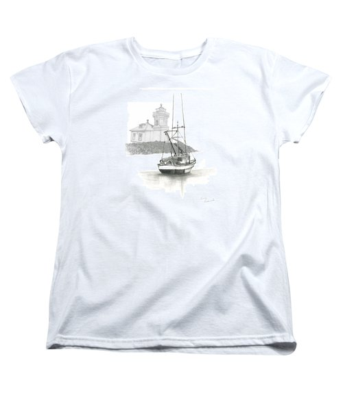 Women's T-Shirt (Standard Cut) featuring the drawing Mukilteo Lighthouse by Terry Frederick