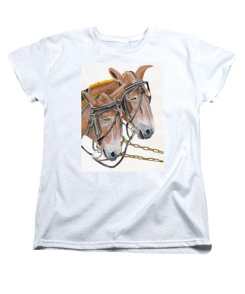 Women's T-Shirt (Standard Cut) featuring the painting Mules - Two - Beast Of Burden by Jan Dappen