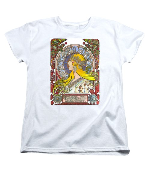 My Acrylic Painting As An Interpretation Of The Famous Artwork Of Alphonse Mucha - Zodiac - Women's T-Shirt (Standard Cut) by Elena Yakubovich