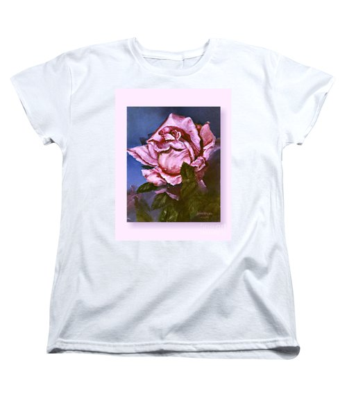 Women's T-Shirt (Standard Cut) featuring the painting My First Rose by Lynne Wright