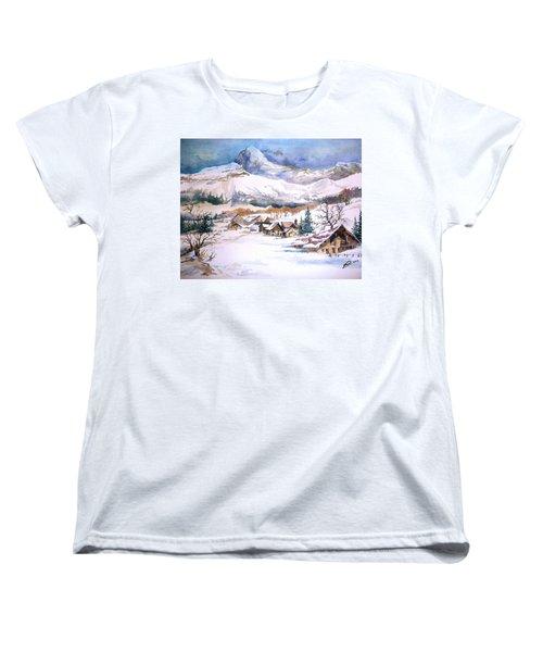 My First Snow Scene Women's T-Shirt (Standard Cut) by Alban Dizdari