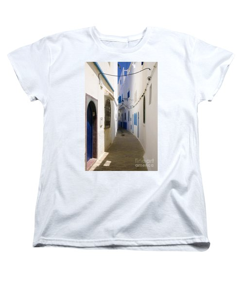 Women's T-Shirt (Standard Cut) featuring the photograph Narrow Backstreet In The Medina Of Asilah On Northwest Tip Of Atlantic Coast Of Morocco by Ralph A  Ledergerber-Photography