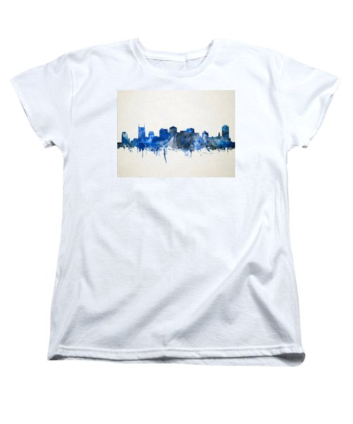Nashville Skyline Watercolor 11 Women's T-Shirt (Standard Cut) by Bekim Art