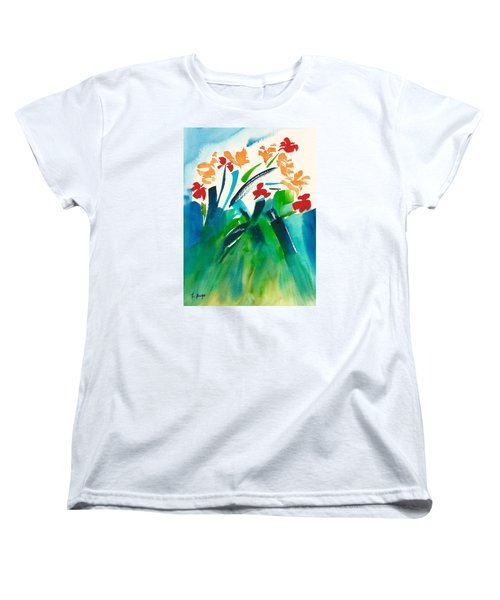 Women's T-Shirt (Standard Cut) featuring the painting Natures Bouquet Abstract by Frank Bright