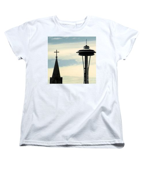 Women's T-Shirt (Standard Cut) featuring the photograph Seattle Washington Space  Needle Steeple And Cross by Michael Hoard