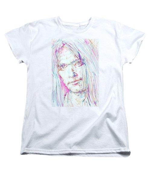 Neil Young - Colored Pens Portrait Women's T-Shirt (Standard Cut) by Fabrizio Cassetta