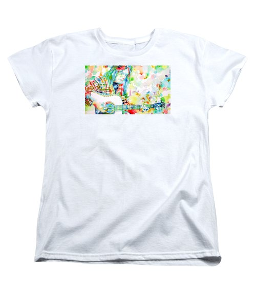 Neil Young Playing The Guitar - Watercolor Portrait.1 Women's T-Shirt (Standard Cut) by Fabrizio Cassetta