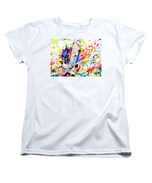 Neil Young Playing The Guitar - Watercolor Portrait.2 Women's T-Shirt (Standard Cut) by Fabrizio Cassetta