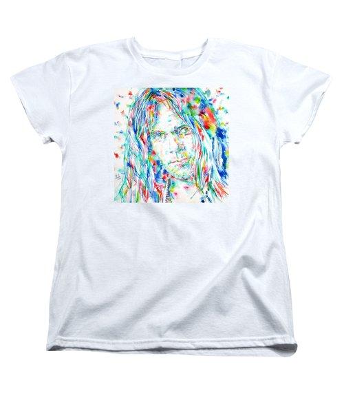 Neil Young - Watercolor Portrait Women's T-Shirt (Standard Cut) by Fabrizio Cassetta