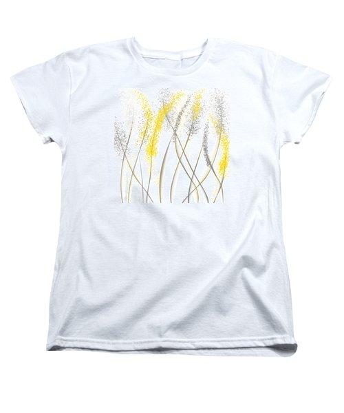 Neutral Sunshine - Yellow And Gray Modern Art Women's T-Shirt (Standard Cut) by Lourry Legarde