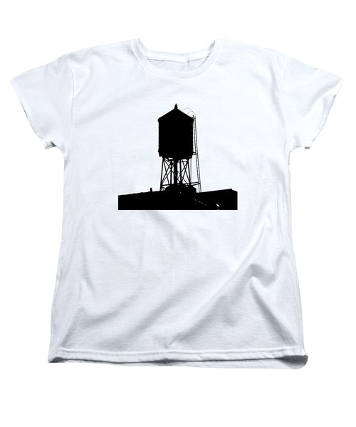 Women's T-Shirt (Standard Cut) featuring the photograph New York Water Tower 17 - Silhouette - Urban Icon by Gary Heller