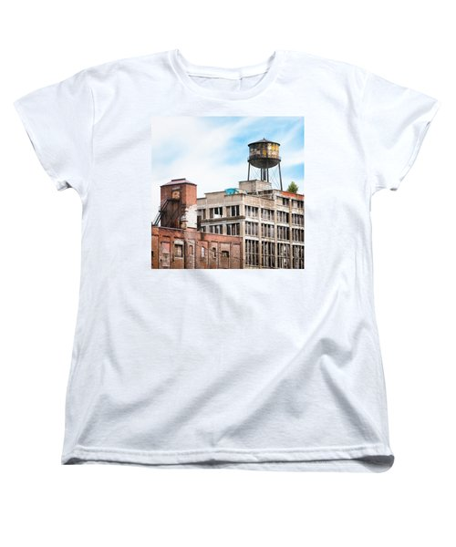 Women's T-Shirt (Standard Cut) featuring the photograph New York Water Towers 18 - Greenpoint Water Tower by Gary Heller