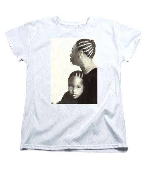 Women's T-Shirt (Standard Cut) featuring the drawing Nina And Lisa Simone by Vannetta Ferguson