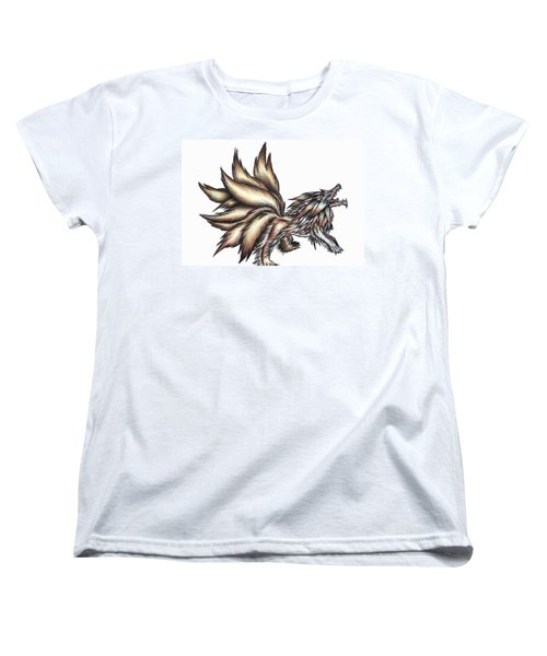 Nine Tails Wolf Demon Women's T-Shirt (Standard Cut) by Shawn Dall