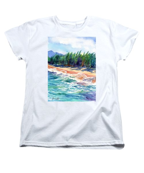 Women's T-Shirt (Standard Cut) featuring the painting North Shore Beach 2 by Marionette Taboniar