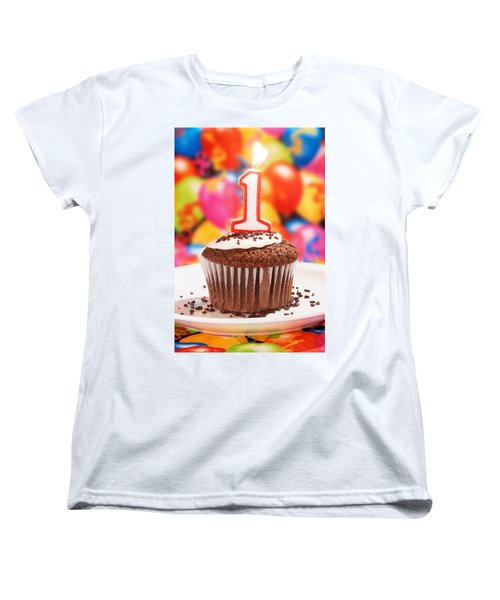 Women's T-Shirt (Standard Cut) featuring the photograph Chocolate Cupcake With One Burning Candle by Vizual Studio