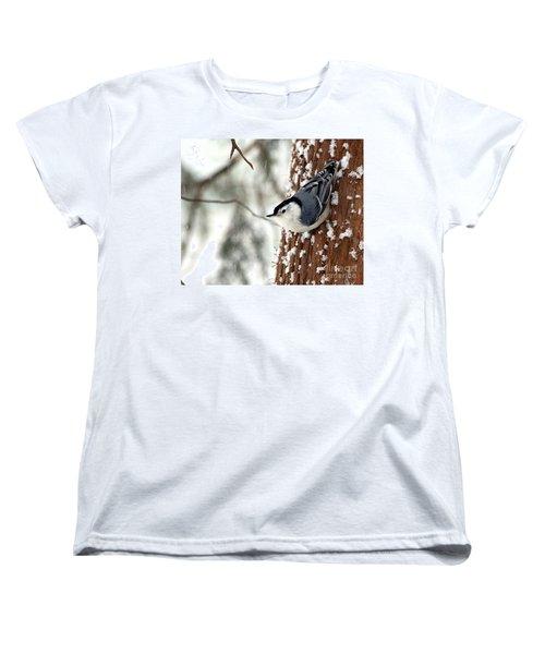 Women's T-Shirt (Standard Cut) featuring the photograph Nuthatch In Snow Storm by Paula Guttilla