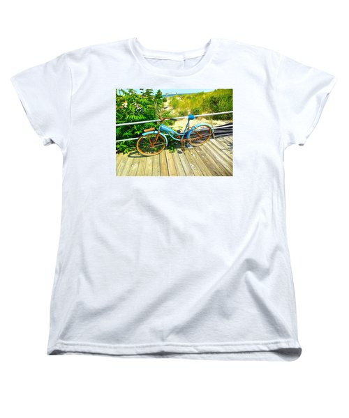 Women's T-Shirt (Standard Cut) featuring the photograph Ocean Grove Bike by Joan Reese