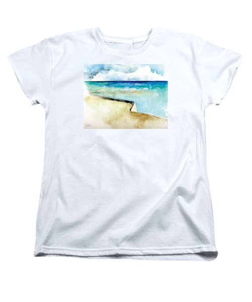 Ocean Pier In Key West Florida Women's T-Shirt (Standard Cut) by Catherine Twomey