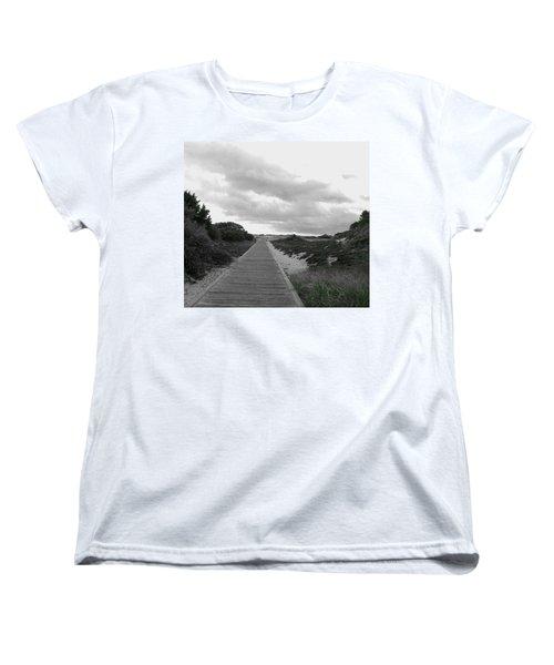 Women's T-Shirt (Standard Cut) featuring the photograph Ocean Walk Island Beach State Park New Jersey by Pamela Hyde Wilson
