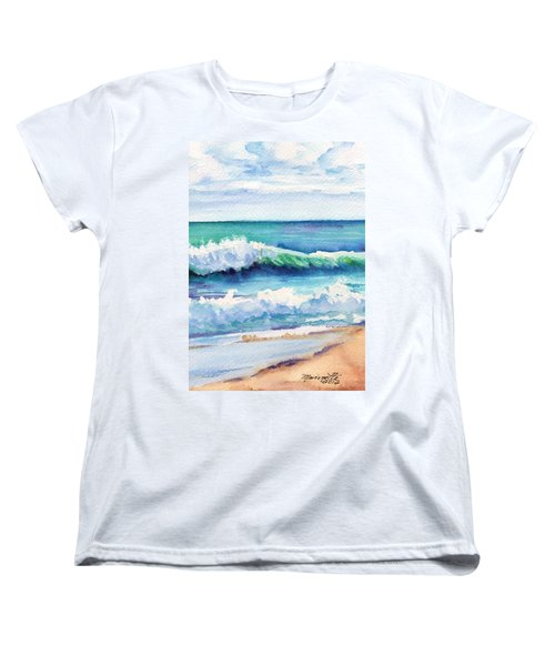 Women's T-Shirt (Standard Cut) featuring the painting Ocean Waves Of Kauai I by Marionette Taboniar
