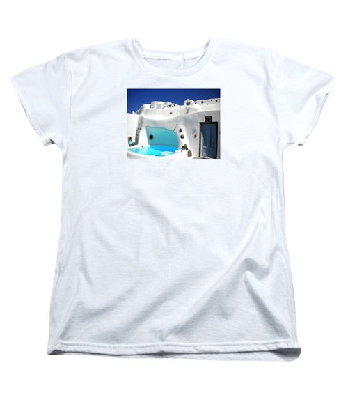 Oia Santorini  With Direct View To The Oceon Greece Women's T-Shirt (Standard Cut) by Colette V Hera  Guggenheim
