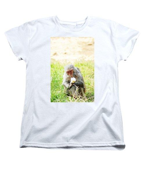 Oil Painting - A Monkey Eating An Ice Cream Women's T-Shirt (Standard Cut) by Ashish Agarwal