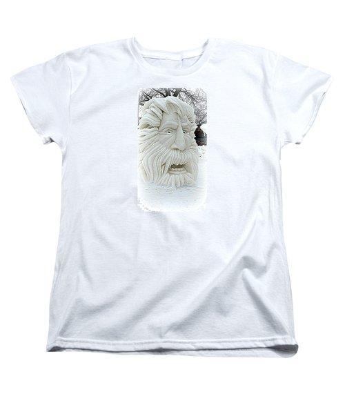 Old Man Winter Snow Sculpture Women's T-Shirt (Standard Cut) by Kay Novy