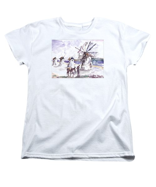 Women's T-Shirt (Standard Cut) featuring the painting Old Windmills At Bodrum by Faruk Koksal