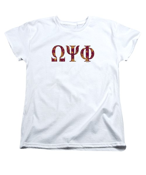 Women's T-Shirt (Standard Cut) featuring the digital art Omega Psi Phi - White by Stephen Younts