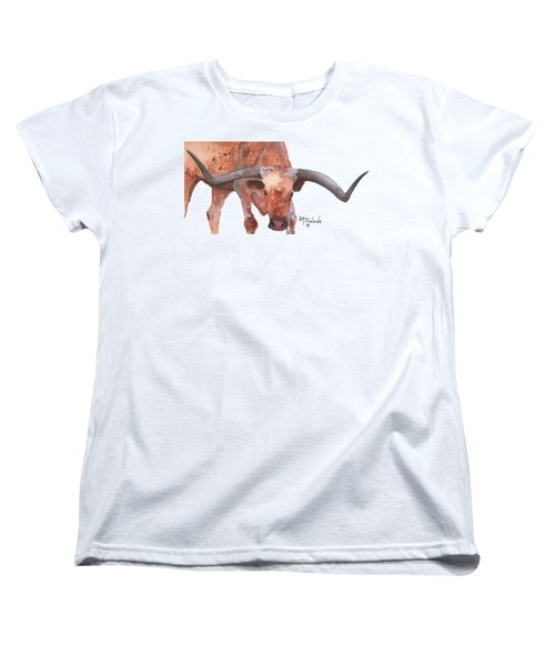 On The Level Texas Longhorn Watercolor Painting By Kmcelwaine Women's T-Shirt (Standard Cut) by Kathleen McElwaine
