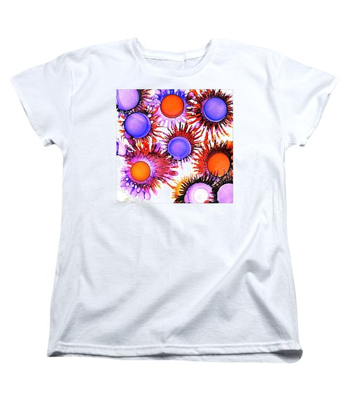 Orange And Purple Alcohol Inks Abstract Women's T-Shirt (Standard Cut)