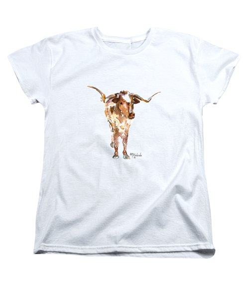 Original Longhorn Standing Earth Quack Watercolor Painting By Kmcelwaine Women's T-Shirt (Standard Cut) by Kathleen McElwaine