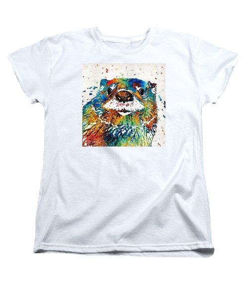 Otter Art - Ottertude - By Sharon Cummings Women's T-Shirt (Standard Cut) by Sharon Cummings