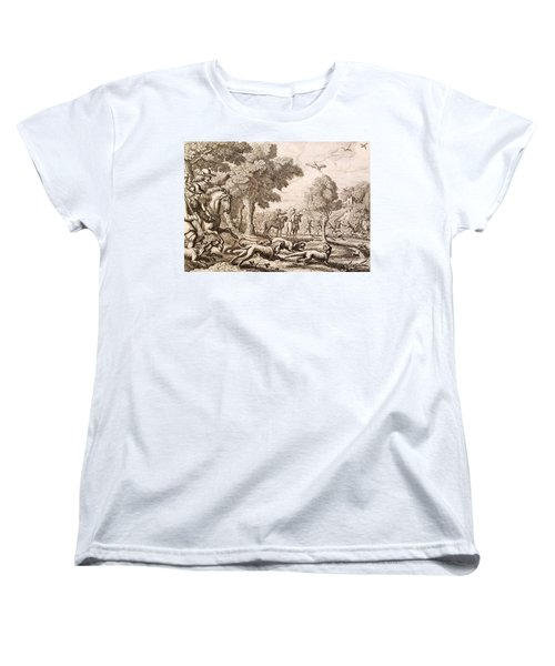 Otter Hunting By A River, Engraved Women's T-Shirt (Standard Cut) by Francis Barlow