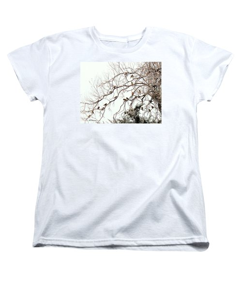 Women's T-Shirt (Standard Cut) featuring the photograph Out On A Limb First Snow by Barbara Chichester