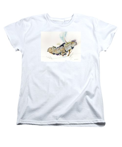 Women's T-Shirt (Standard Cut) featuring the painting Owl Catches Lunch by John Norman Stewart