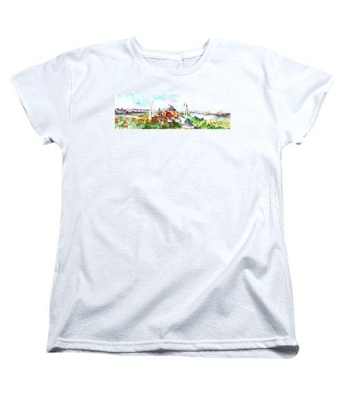 Women's T-Shirt (Standard Cut) featuring the painting Panoramic Hagia Sophia In Istanbul by Faruk Koksal
