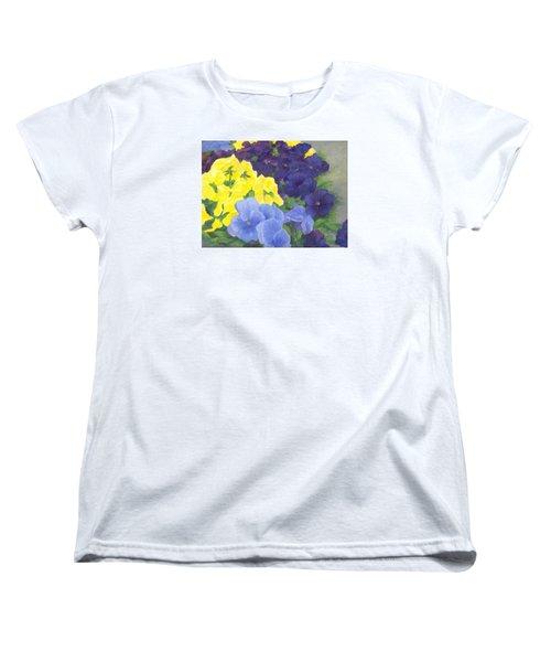 Pansy Garden Bright Colorful Flowers Painting Pansies Floral Art Artist K. Joann Russell Women's T-Shirt (Standard Cut) by Elizabeth Sawyer