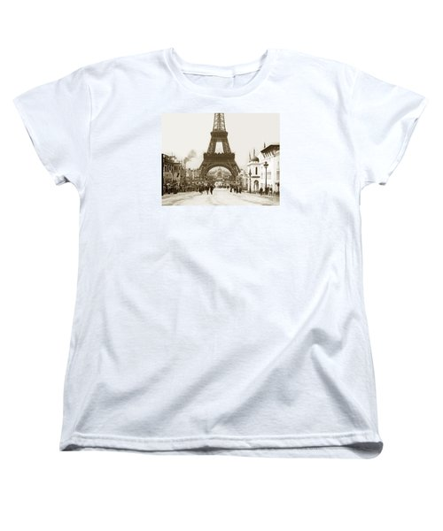 Women's T-Shirt (Standard Cut) featuring the photograph Paris Exposition Eiffel Tower Paris France 1900  Historical Photos by California Views Mr Pat Hathaway Archives