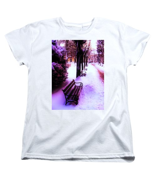 Women's T-Shirt (Standard Cut) featuring the photograph Park Benches In Snow by Nina Ficur Feenan