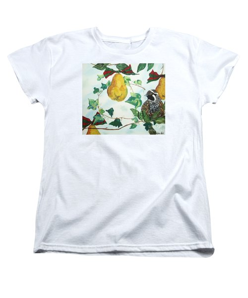 Women's T-Shirt (Standard Cut) featuring the painting Partridge And  Pears  by Reina Resto