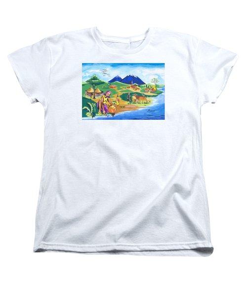 Women's T-Shirt (Standard Cut) featuring the painting Paysage Du Nord Du Rwanda by Emmanuel Baliyanga