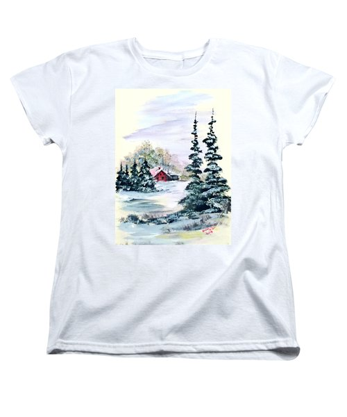 Women's T-Shirt (Standard Cut) featuring the painting Peaceful Winter by Dorothy Maier