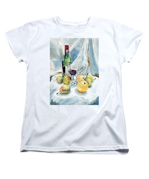 Pears And Wine Women's T-Shirt (Standard Cut) by Joey Agbayani