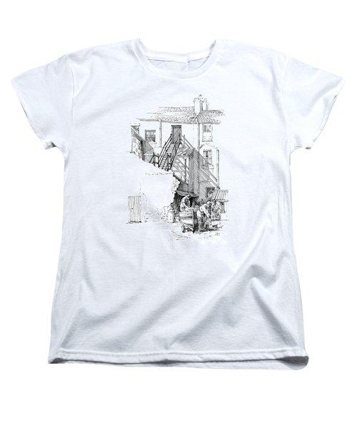 Women's T-Shirt (Standard Cut) featuring the drawing Peel Back Street by Paul Davenport